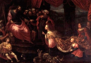Courtesy: http://commons.wikimedia.org/wiki/File:Francken_II,_Frans_-_King_Solomon_and_the_Queen_of_Sheba.JPG