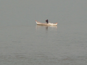 Lonely Boat in Narmatha River, Gujrath, India