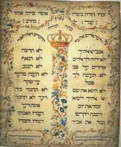Courtesy: Decalogue_parchment_by_Jekuthiel_Sofer_1768